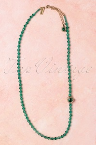50s Elizabeth Beaded Jewel Necklace in Emerald