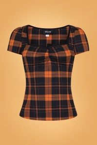 Collectif 29818 Mimi Pumpkin Check Top in Black and Orange 20190430 021L W