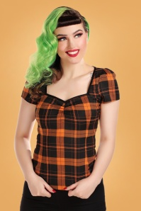 50s Mimi Pumpkin Check Top in Black and Orange
