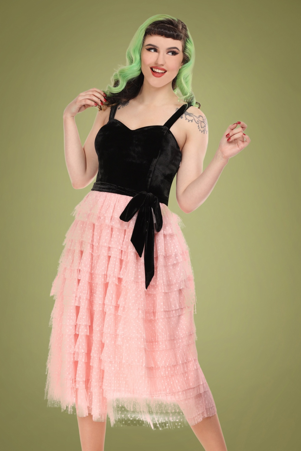 1950s Party Dresses & Prom Dresses for Sale 50s Giselle Polka Occasion Swing Dress in Black and Pink £102.31 AT vintagedancer.com
