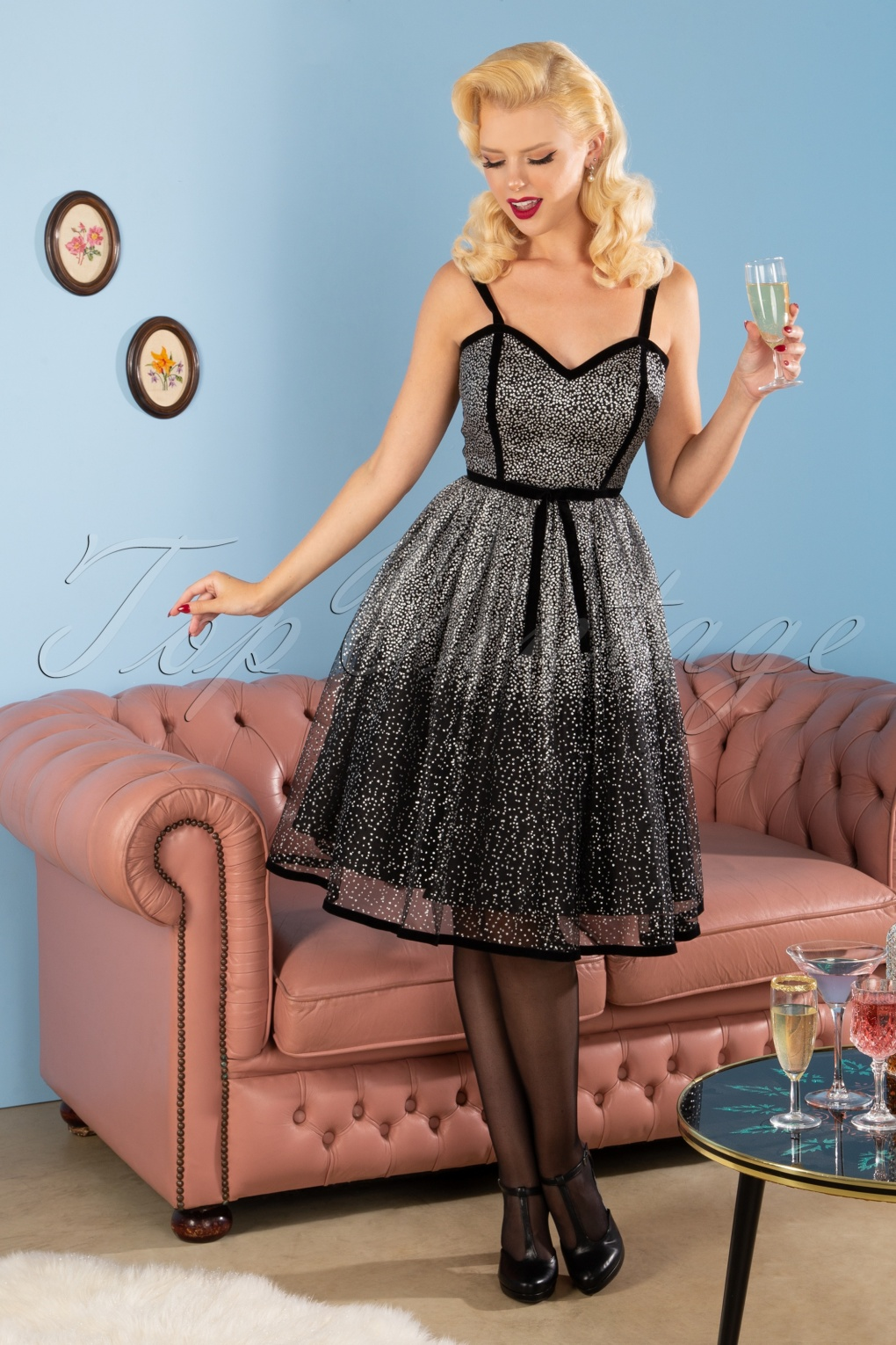 50s Dresses UK | 1950s Dresses, Shoes & Clothing Shops 50s Florence Occasion Swing Dress in Black and Silver £102.74 AT vintagedancer.com