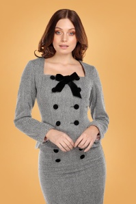 Collectif Clothing 40s Agatha Herringbone Jacket in Black and White