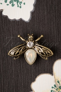 Lovely 30s Crystal Bug Brooch in Gold
