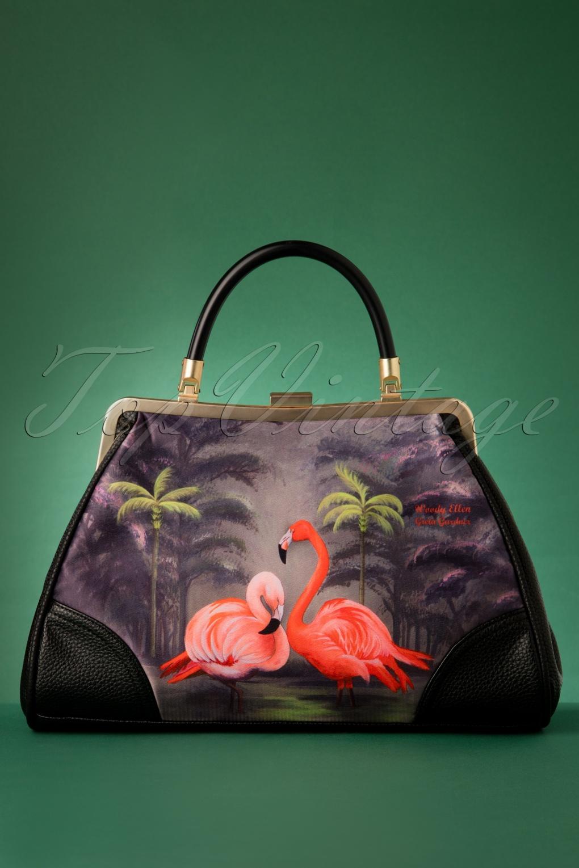 Vintage Handbags, Purses, Bags *New* 50s Flamingo Handbag in Black £72.39 AT vintagedancer.com