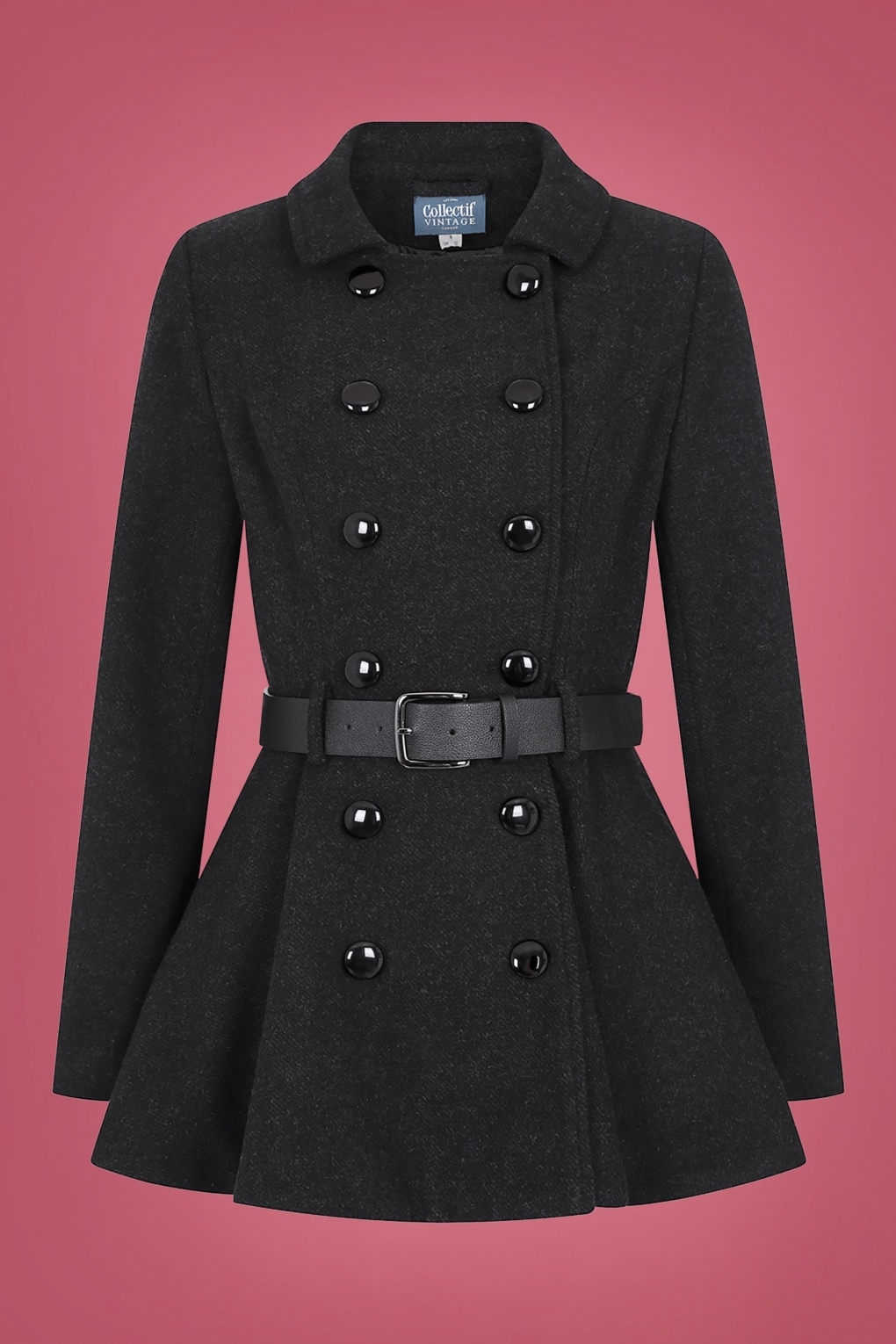 Women's 1940s Victory Suits and Utility Suits 40s Darienne Plain Peplum Jacket in Black £113.69 AT vintagedancer.com