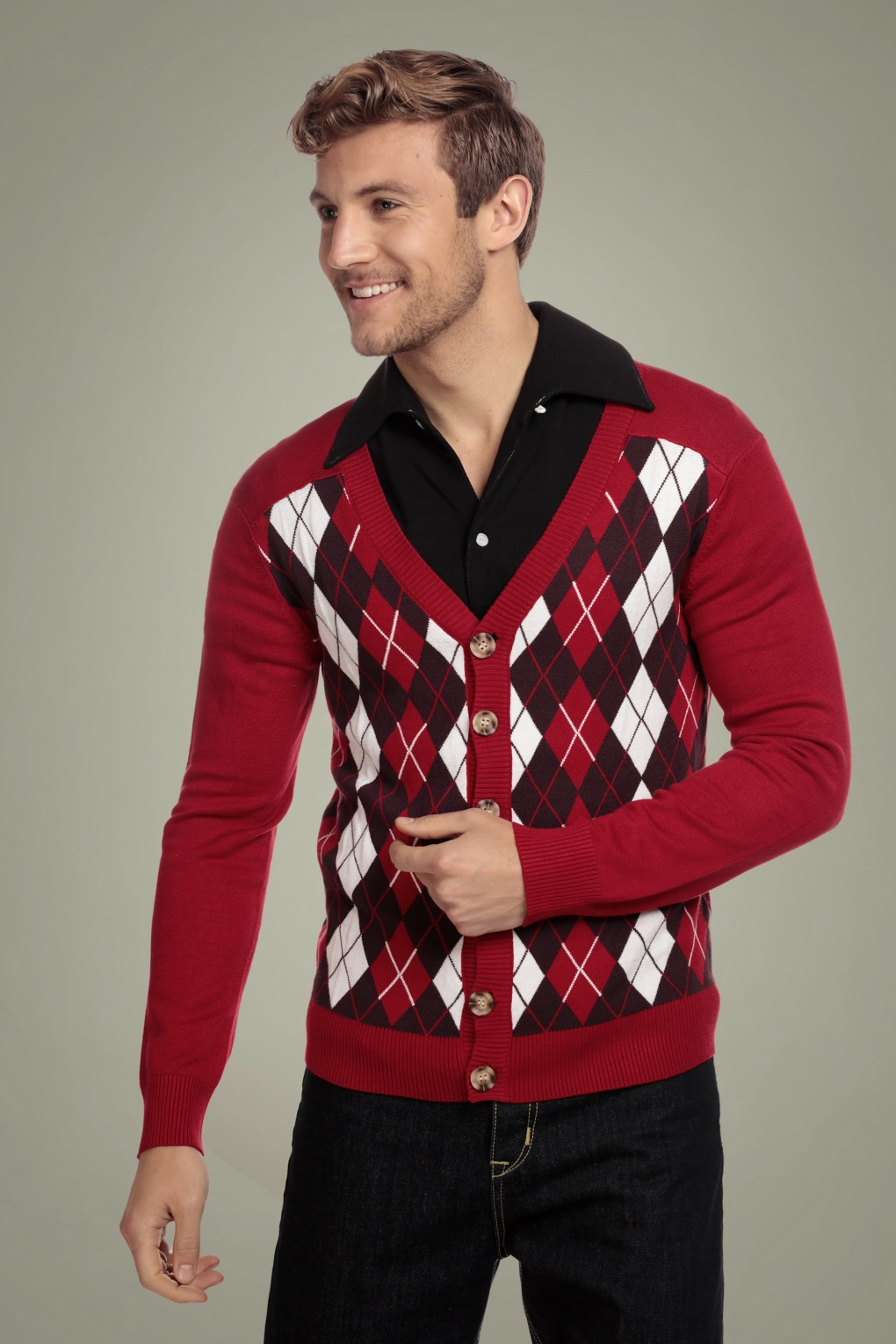 Men's Vintage Sweaters – 1920s to 1960s Retro Jumpers 50s Dave Diamond Cardigan in Red £46.17 AT vintagedancer.com
