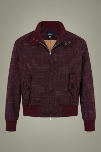 Collectif 31608 Barry Cross Jacket in Burgundy 20191001 020LW