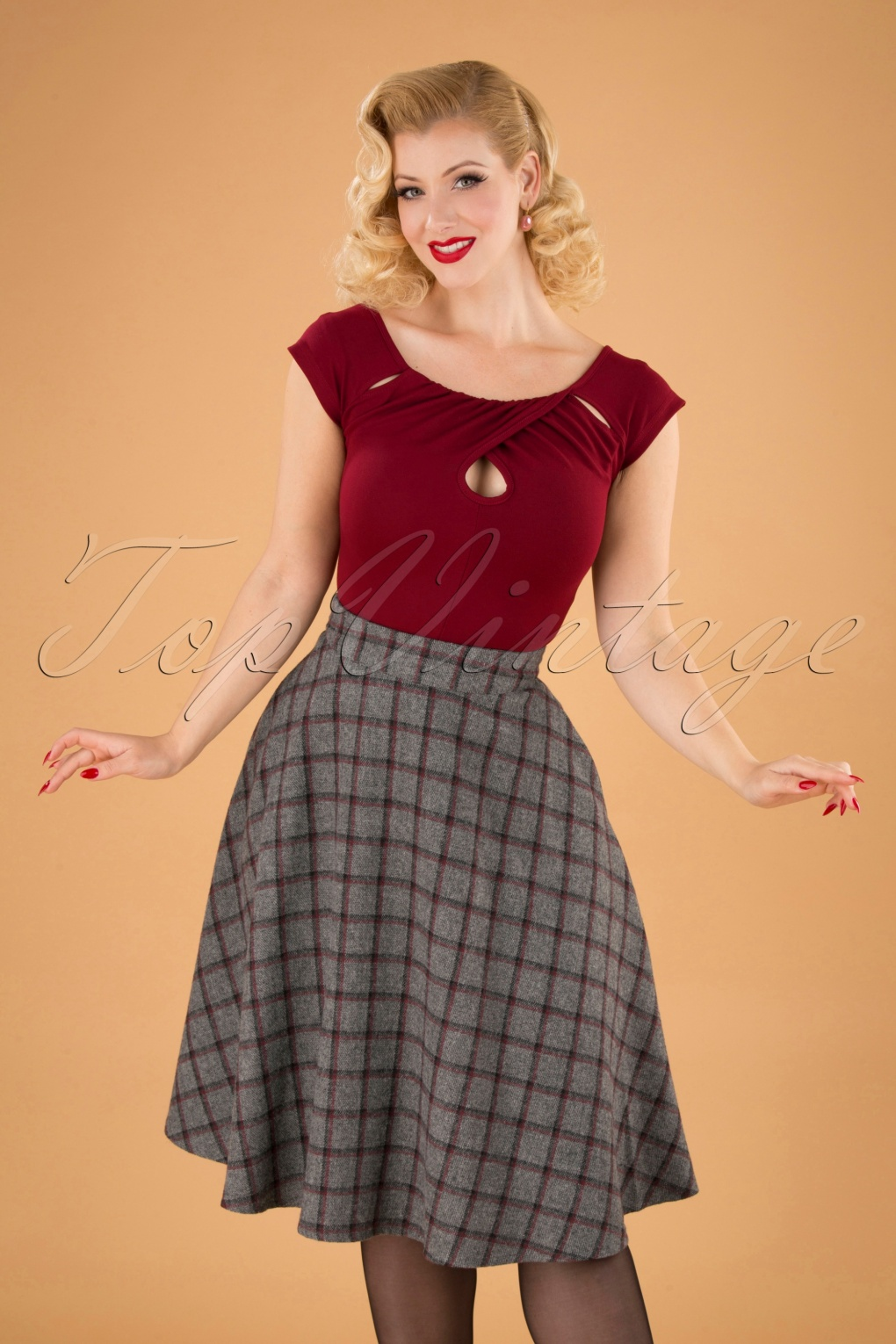 1940s Style Skirts- Vintage High Waisted Skirts 40s Another Fab Swing Skirt in Grey £41.31 AT vintagedancer.com