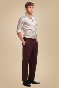 50s Bobbie Crosshatch Trousers in Burgundy