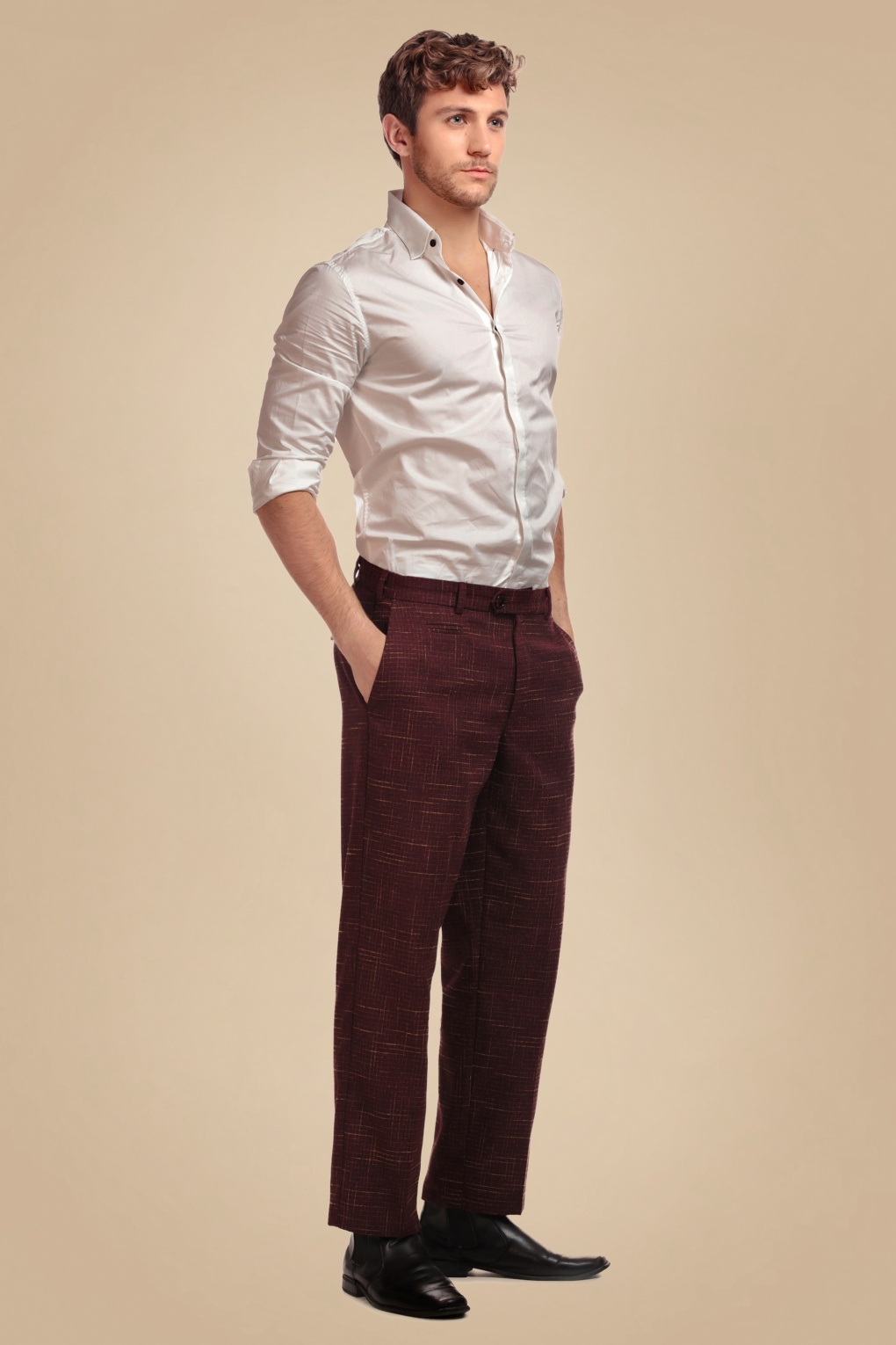 1950s Men's Pants, Trousers, Shorts | Rockabilly Jeans, Greaser Styles 50s Bobbie Crosshatch Trousers in Burgundy £66.40 AT vintagedancer.com