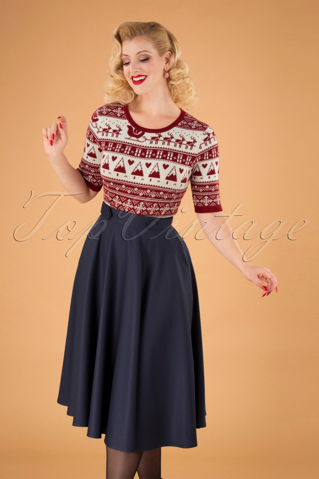 1940s Style Skirts- Vintage High Waisted Skirts 50s Di Di Swing Skirt in Night Blue £35.11 AT vintagedancer.com