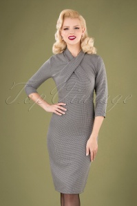 Banned 30566 Drape Neck Grey Pencil Dress 20190903 040M W