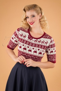 Banned Retro 50s Holly Jumper in Red and White
