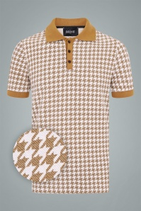 Collectif 31578 Pablo Dogtooth Polo Shirt in Mustard 20190930 021LW1