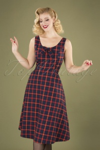 Christmas Check Dress Années 50 en Blue Marine et Rouge