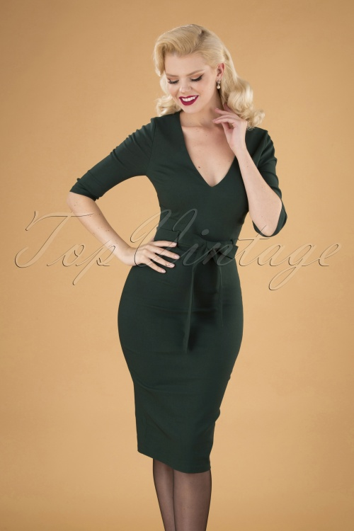 Collectif Clothing Meadow Pencil Dress in Green 24893 20180627 040MW