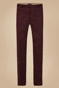 Collectif 31568 Bobbie Crosshatch Trousers in Burgundy 20190930 020LW