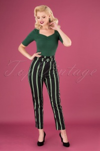 Collectif 29810 Thea Witch Stripes Trousers in Black 20190730 040M W