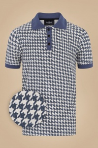 Collectif 31579 Pablo Dogtooth Polo Shirt in Navy 20190930 021LZ