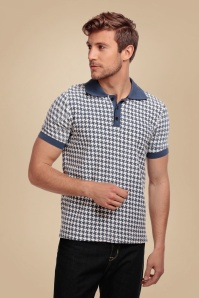 50s Pablo Dogtooth Polo Shirt in Blue