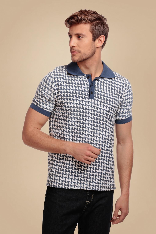 1950s Mens Shirts   Retro Bowling Shirts, Vintage Hawaiian Shirts 50s Pablo Dogtooth Polo Shirt in Blue £46.48 AT vintagedancer.com