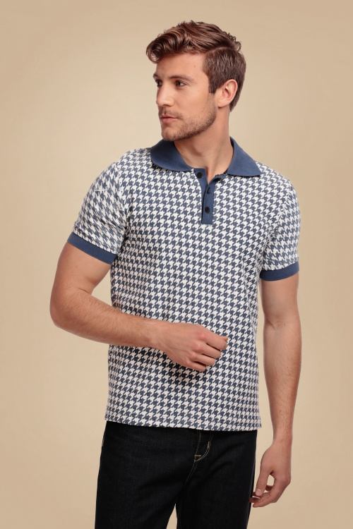 Collectif 31579 Pablo Dogtooth Polo Shirt in Navy 20190930 020LW