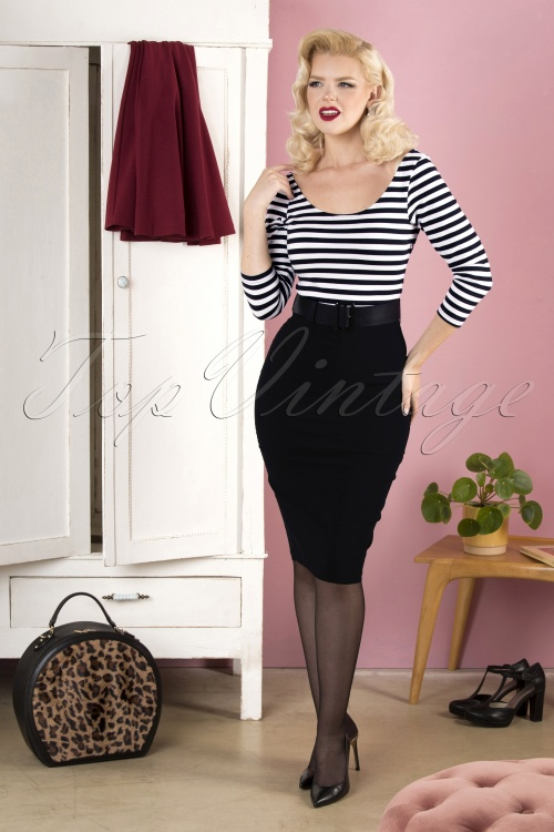 Collectif 29834 manuele striped black and white pencil dress 20190415 040MW