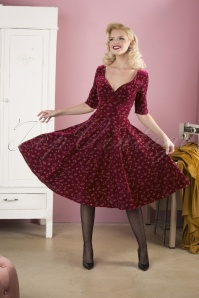 Trixie Velvet Sparkle Doll Swing Dress Années 50 en Lie de Vin