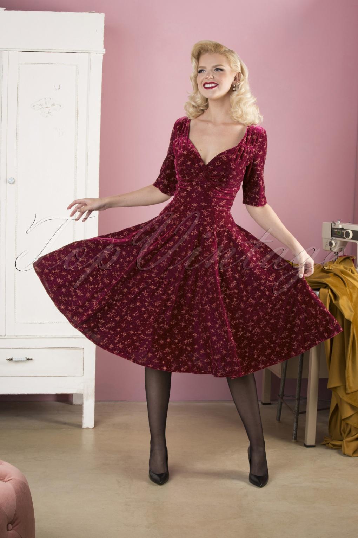 1950s Dresses, 50s Dresses | 1950s Style Dresses 50s Trixie Velvet Sparkle Doll Swing Dress in Wine £61.57 AT vintagedancer.com