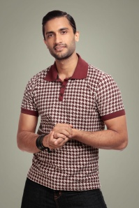 50s Pablo Dogtooth Polo Shirt in Burgundy