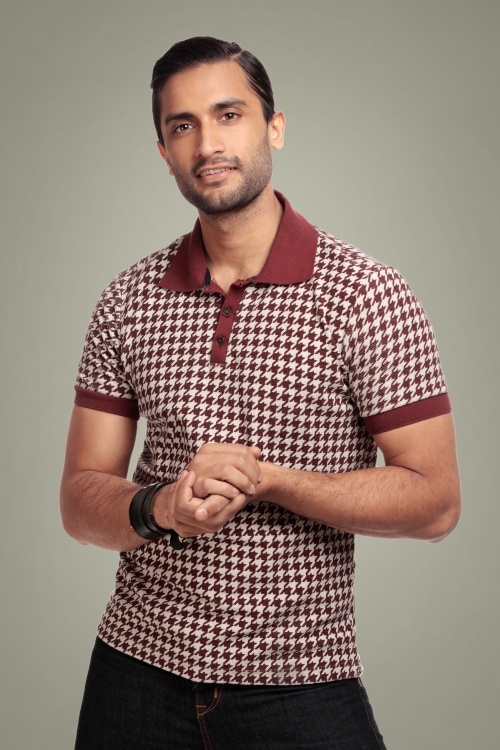 Collectif 31580 Pablo Dogtooth Polo Shirt in Red 20190930 020LW