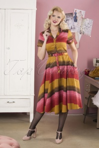 50s Caterina Sunset Stripes Swing Dress in Mustard and Pink
