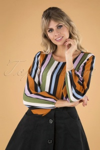 Compania Fantastica 29714 Blouse Orange Green Pink Blue Striped 20190805 040MW