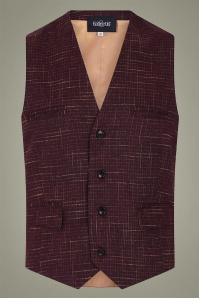 Collectif 31618 Max Crosshatch Waistcoat in Burgundy 20190930 021LW
