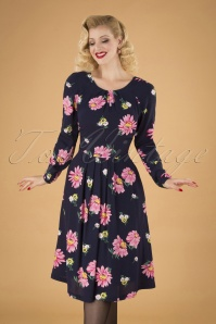 70s Stephy Autumn Gerberas Dress in Navy