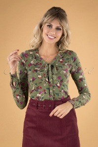 60s Kansas Bow Blouse in Olive Green