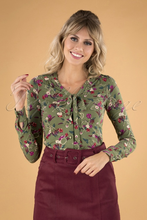 King Louie 29433 Bow Blouse Kansas Olive Green20190705 040MW