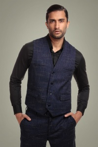 50s Max Crosshatch Waistcoat in Blue