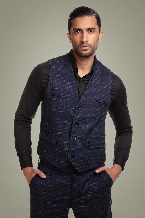 Collectif 31617 Max Crosshatch Waistcoat in Blue 20191001 024LW