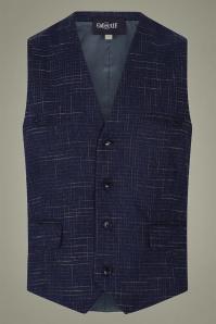 Collectif 31617 Max Crosshatch Waistcoat in Blue 20191001 020LW