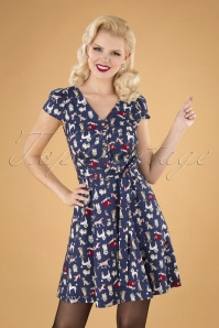 50s Cathleen Dogshow Dress in Blue