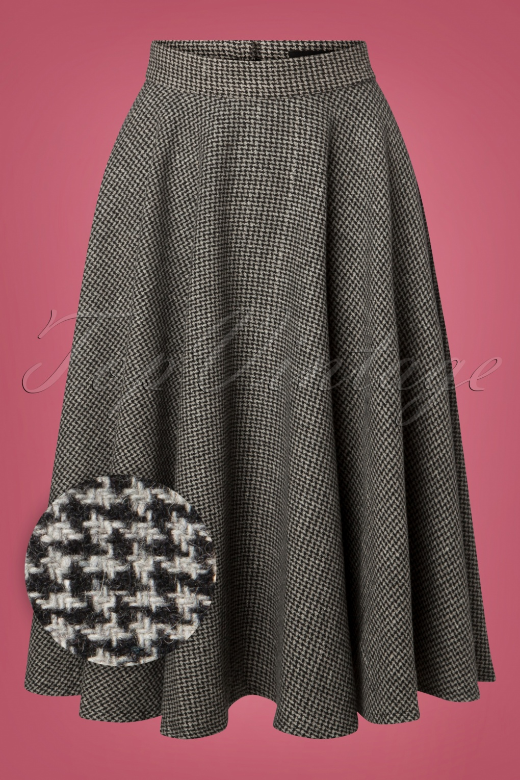 1940s Style Skirts- Vintage High Waisted Skirts 40s Sophie Houndstooth Skirt in Grey £64.08 AT vintagedancer.com
