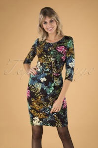 60s Laurinda Floral Pencil Dress in Black