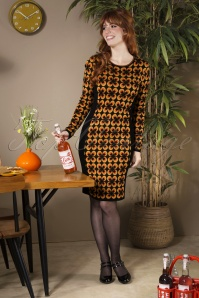 70s Alvira Pencil Dress in Black and Orange