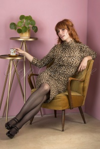 60s Petra Pencil Dress in Leopard