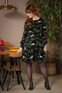 60s Jocelyn Magic Forest Dress in Black