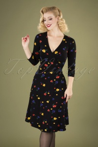Dulcie Painterly Floral Wrap Dress Années 60 en Noir
