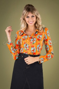 Nellie Kitschy Deer Shirt Années 60 en Orange