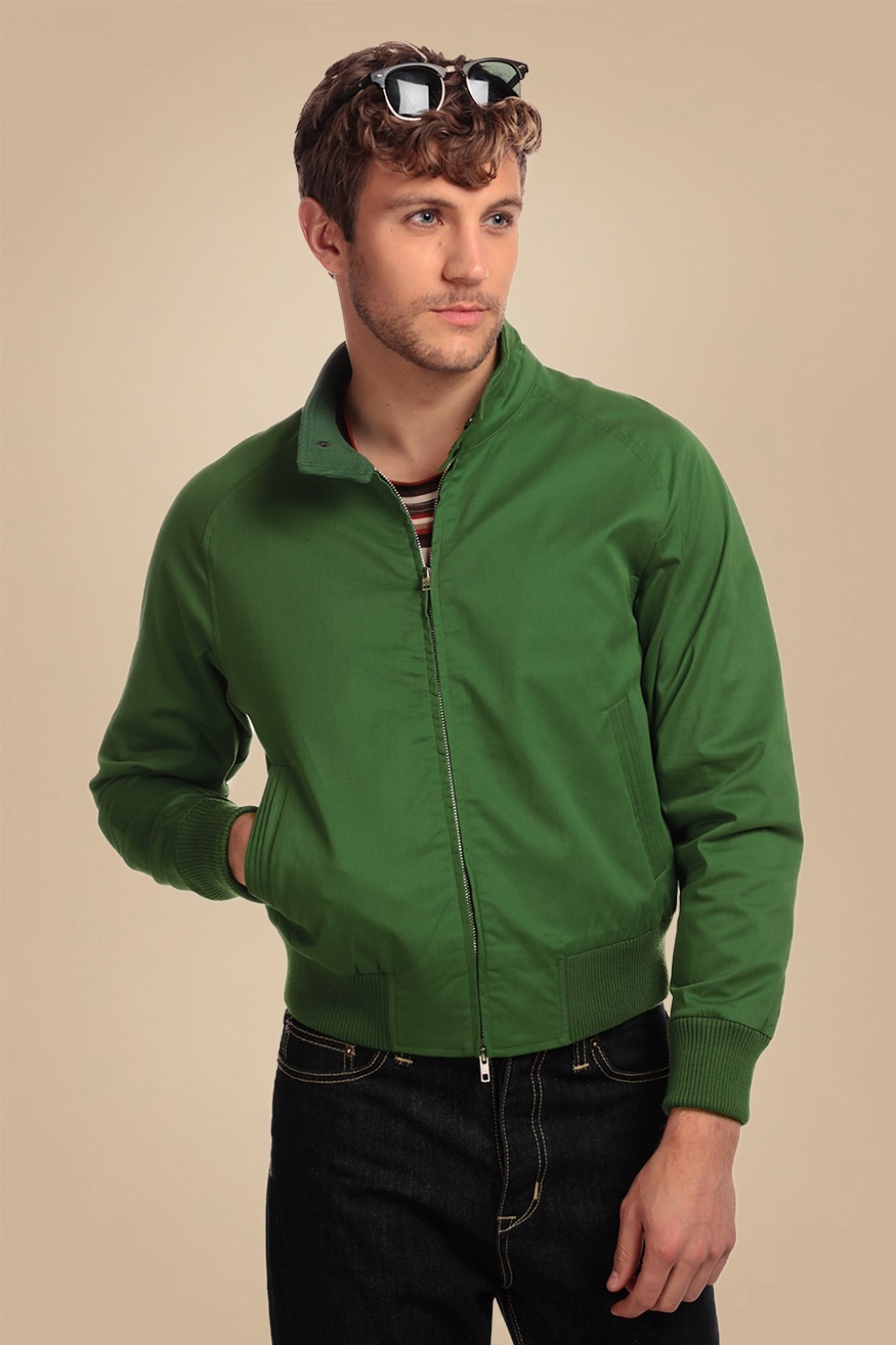 Men's Vintage Style Coats and Jackets 50s Barry Plain Jacket in Green £66.40 AT vintagedancer.com