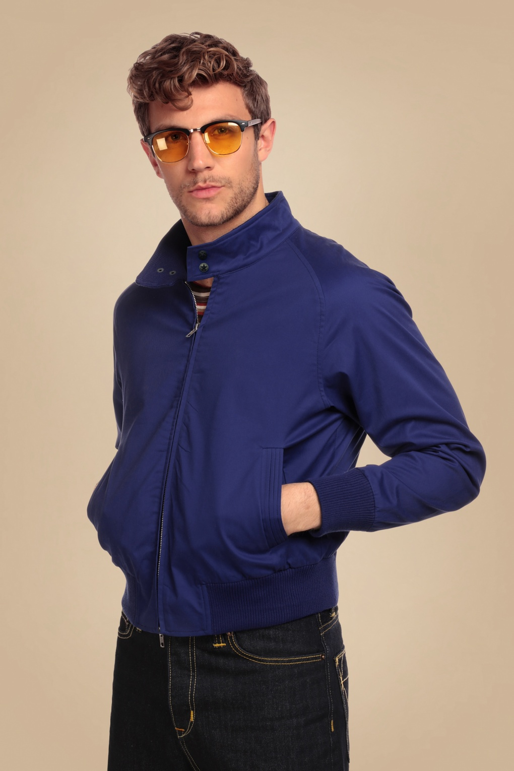 50s Men's Jackets| Greaser Jackets, Leather, Bomber, Gaberdine 50s Barry Plain Jacket in Blue £67.16 AT vintagedancer.com